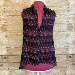 H&M Sleeveless Ikat Tribal Navy Button Blouse Sz 4